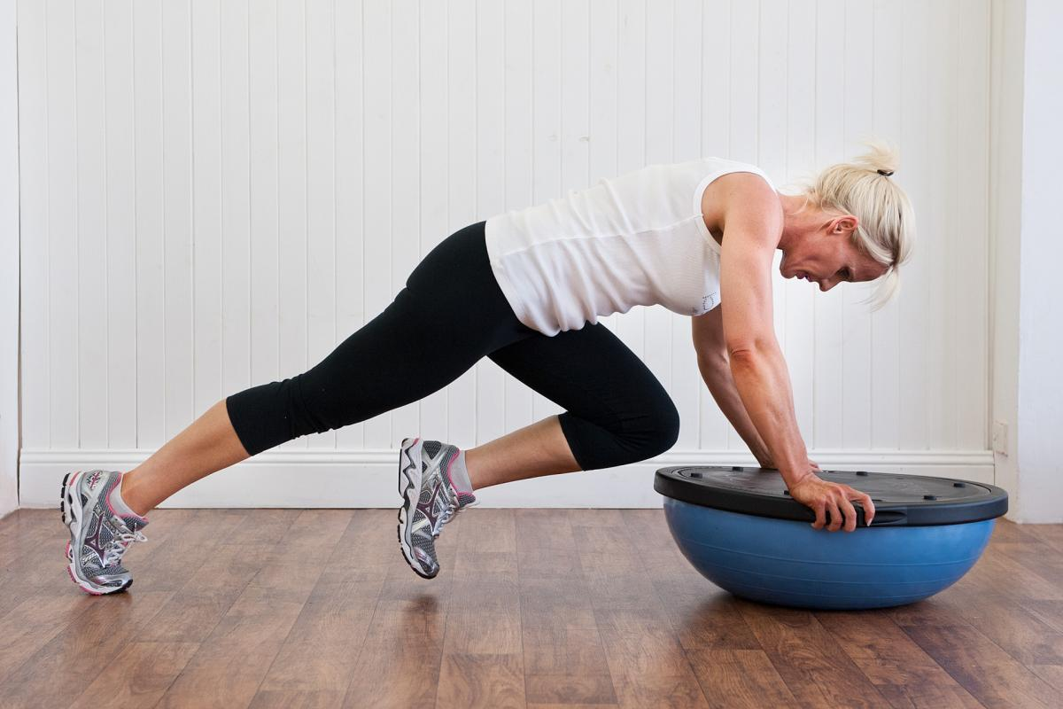 Bosu training exercise for horse riders