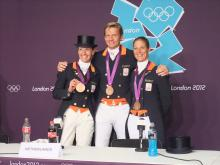 The bronze medal winning Dutch dressage team at the 2012 Games.